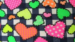 Neon Jersey check-hearts 4937